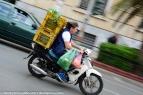 Greek style riding, helmet is optional.